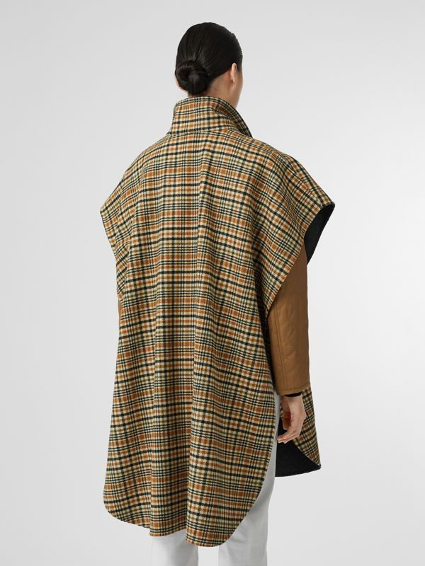 D-ring Detail Check Wool Cashmere Cape in Stone Yellow | Burberry - cell image 2