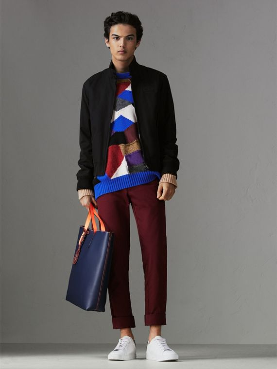 Medium Two-tone Coated Leather Tote in Dark Ultramarine | Burberry - cell image 3