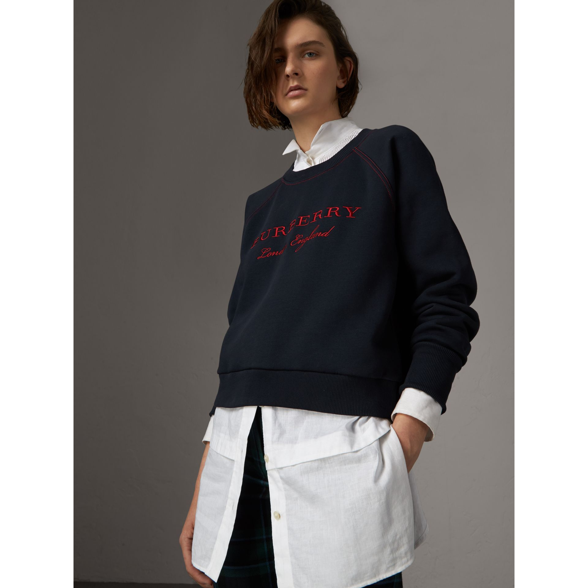 Embroidered Cotton Blend Jersey Sweatshirt in Navy - Women | Burberry - gallery image 0