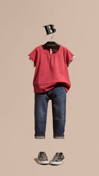 Pleat Detail Check Cotton T-Shirt