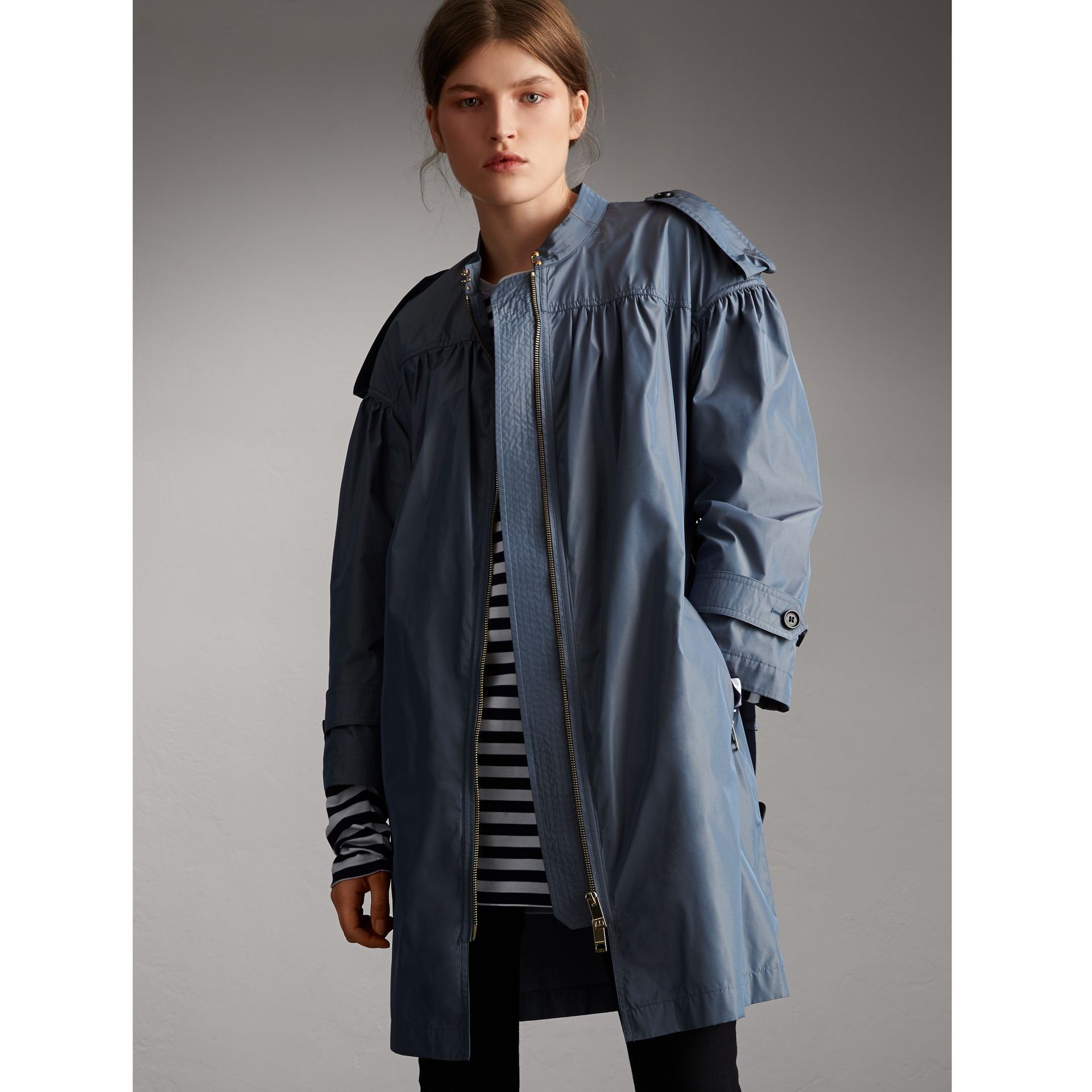 Lightweight Ruched Coat in Stone Blue - Women | Burberry - gallery image 1