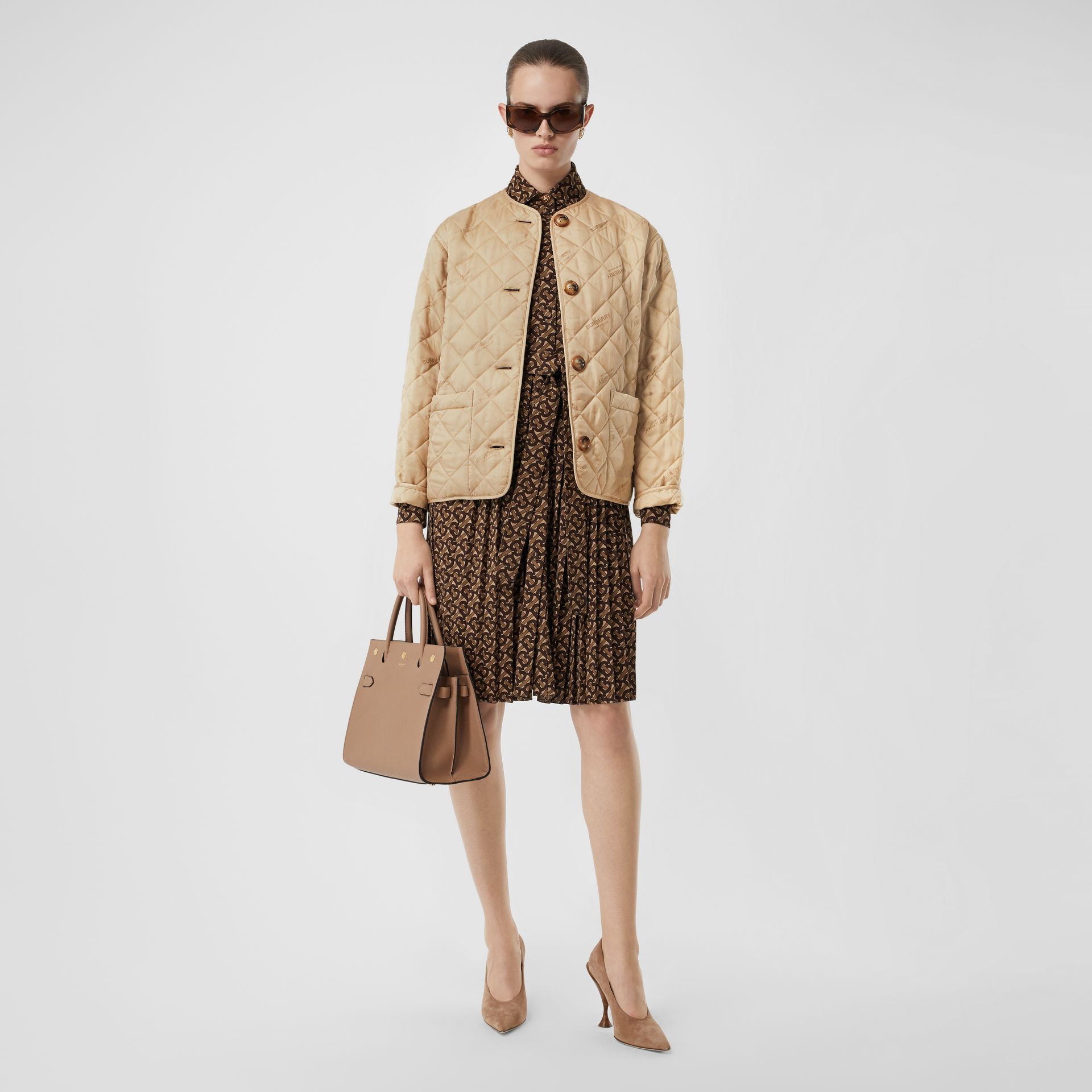 Logo Jacquard Diamond Quilted Jacket in Ecru - Women | Burberry Singapore - gallery image 0
