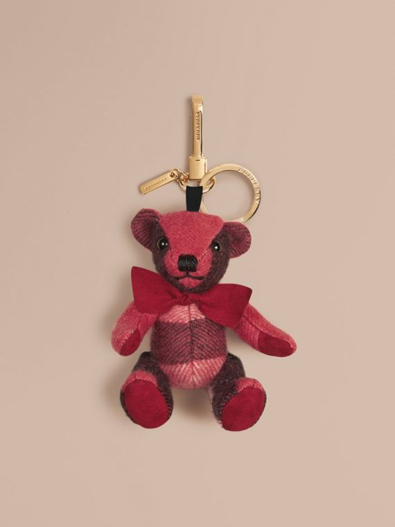 Adorno do Thomas Bear de cashmere com estampa xadrez Pink Blush