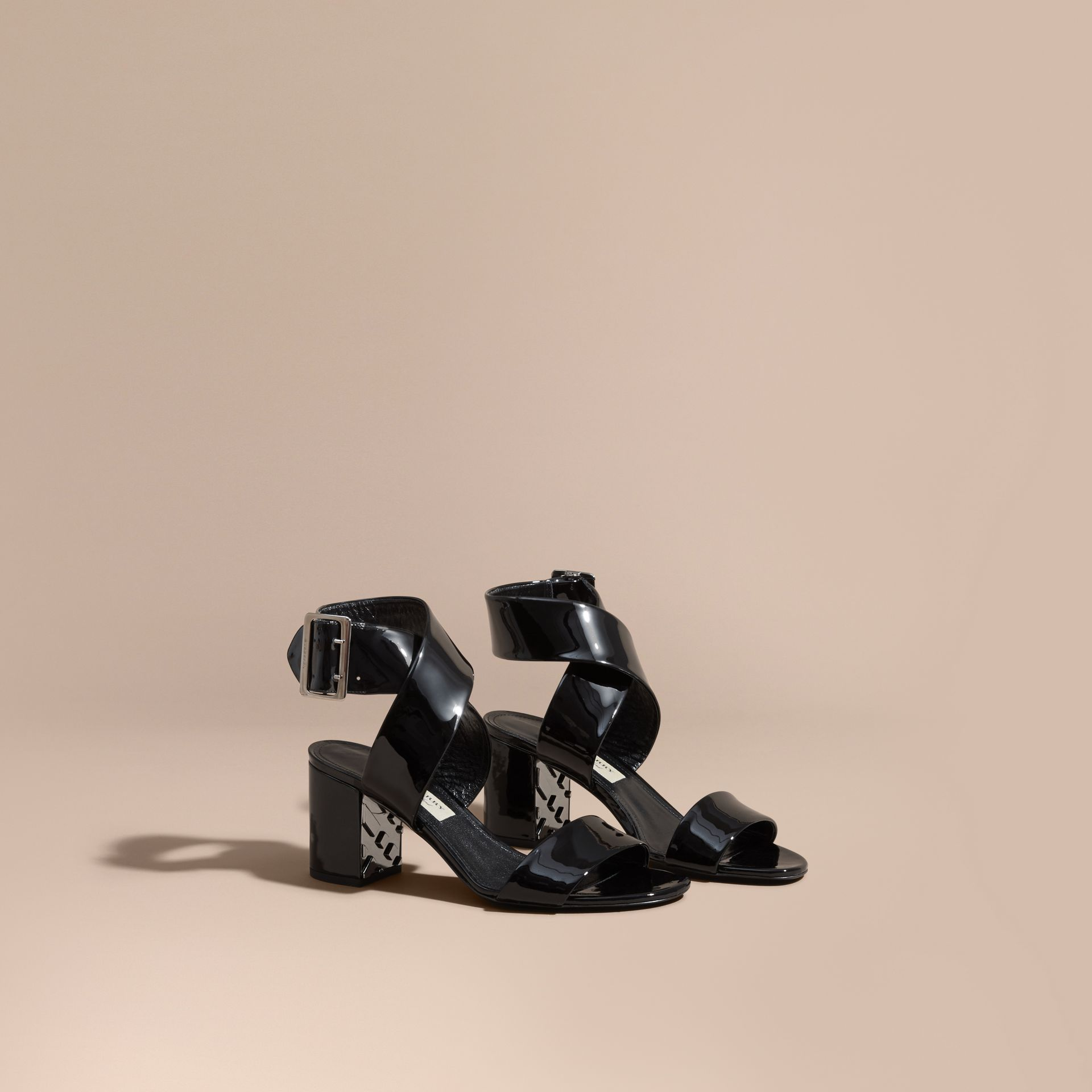 Patent Leather Sandals with Buckle and Check Detail - gallery image 1