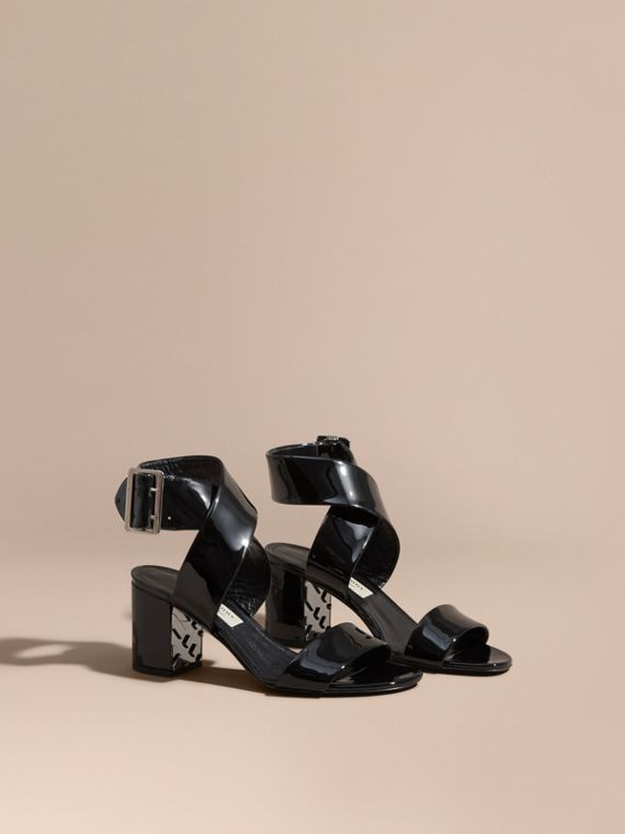 Patent Leather Sandals with Buckle and Check Detail Black
