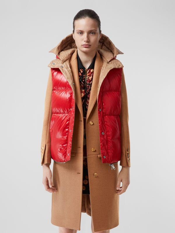 Camel Hair Tailored Coat with Detachable Gilet in Bronze - Women | Burberry - cell image 3