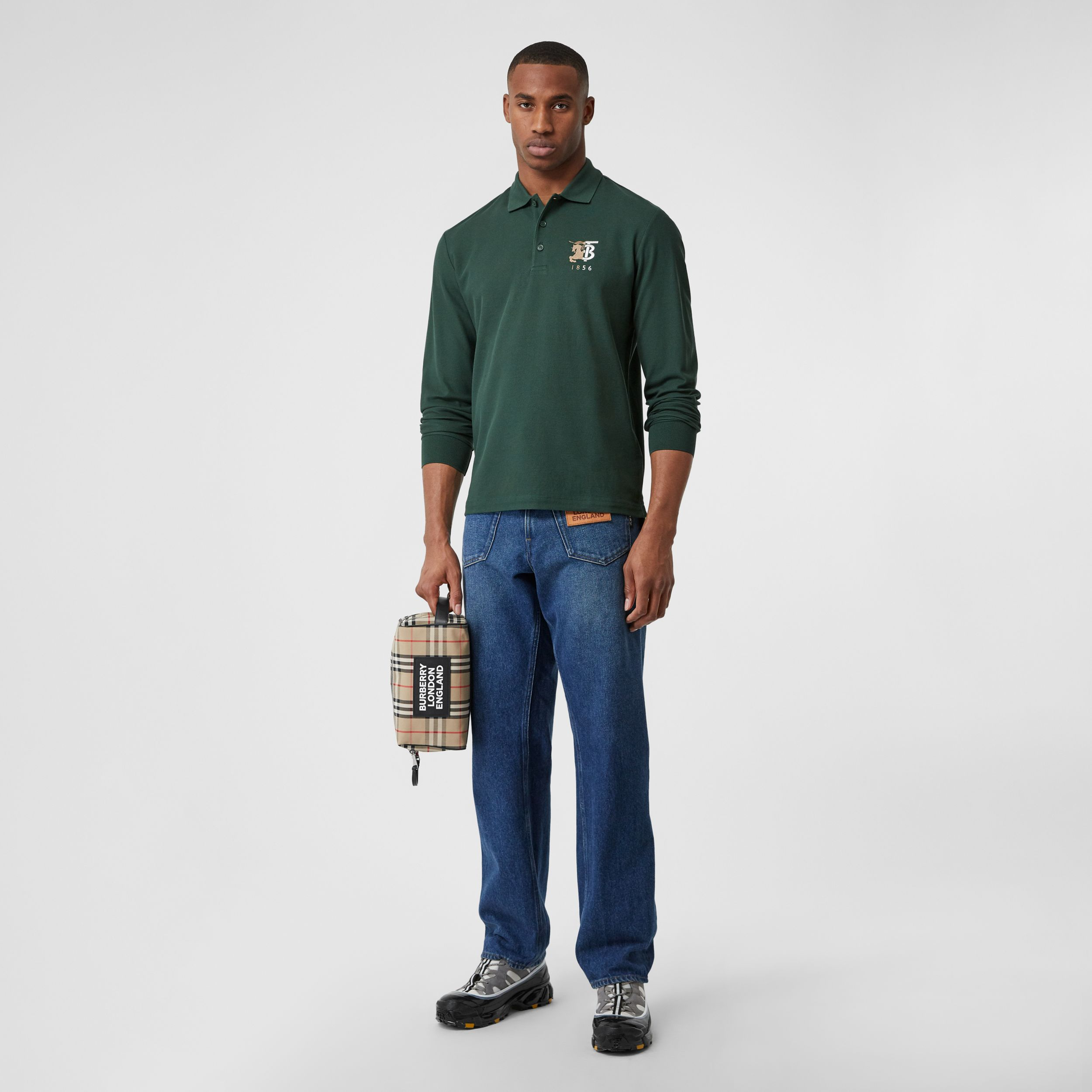 Long-sleeve Contrast Logo Graphic Cotton Polo Shirt in Dark Pine Green - Men | Burberry - 1