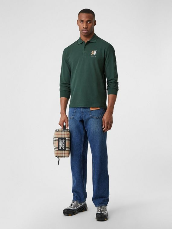 Long-sleeve Contrast Logo Graphic Cotton Polo Shirt in Dark Pine Green