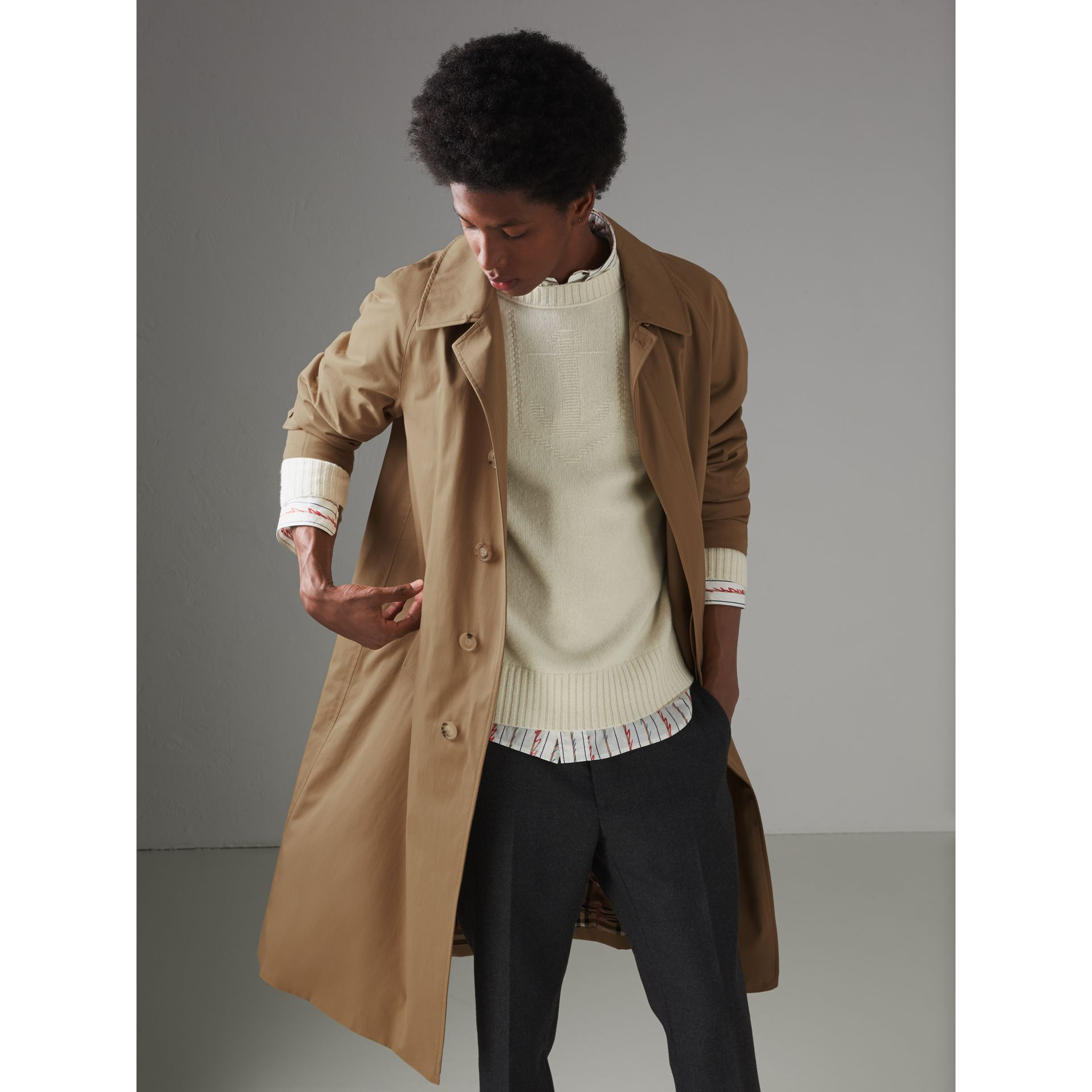 Cotton Gabardine Car Coat in Camel - Men | Burberry Singapore - gallery image 5