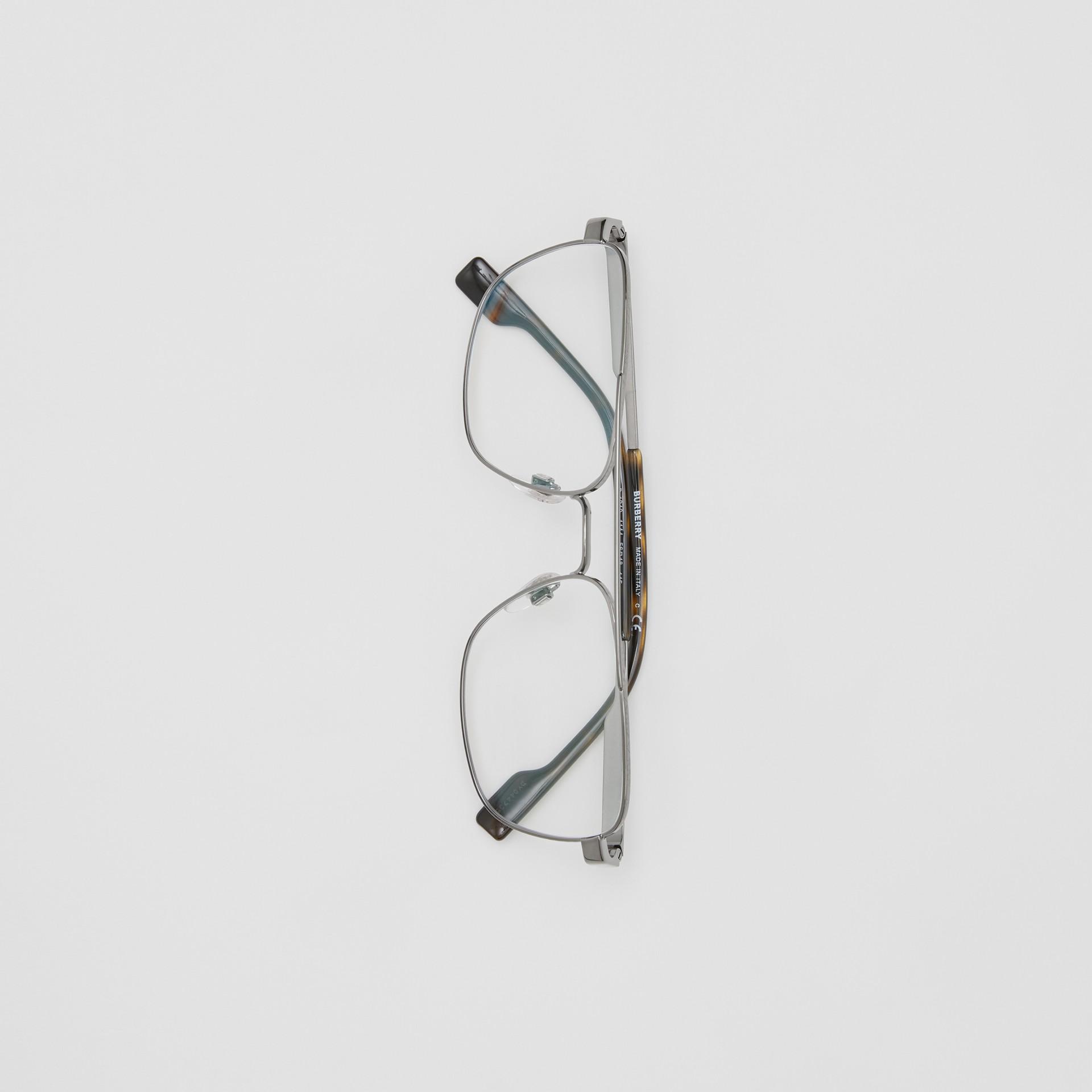 Rectangular Navigator Optical Frames in Dark Grey | Burberry Canada - gallery image 2
