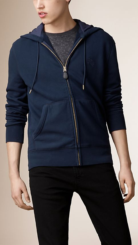 Navy Hooded Cotton Jersey Top - Image 1