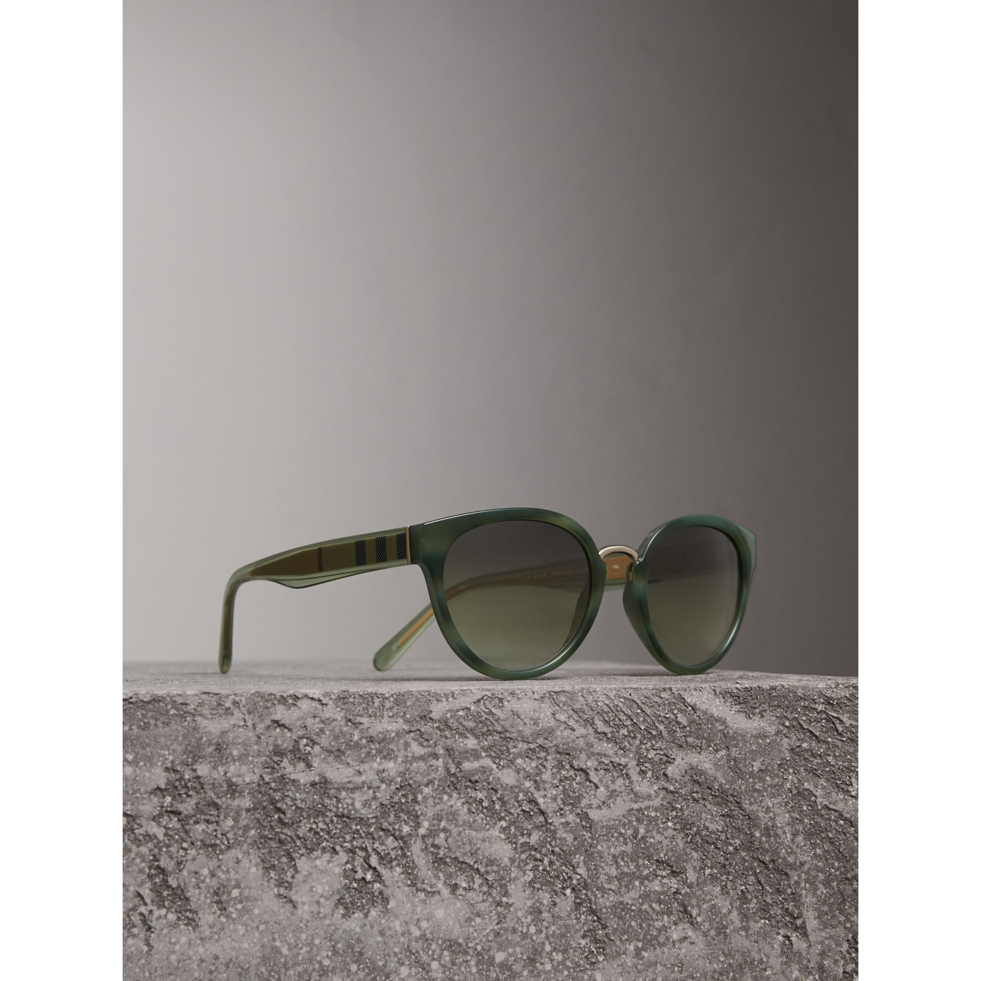 Check Detail Cat-eye Frame Sunglasses in Dark Olive - Women | Burberry Singapore - gallery image 1