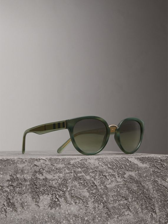 Check Detail Cat-eye Frame Sunglasses in Dark Olive - Women | Burberry Australia