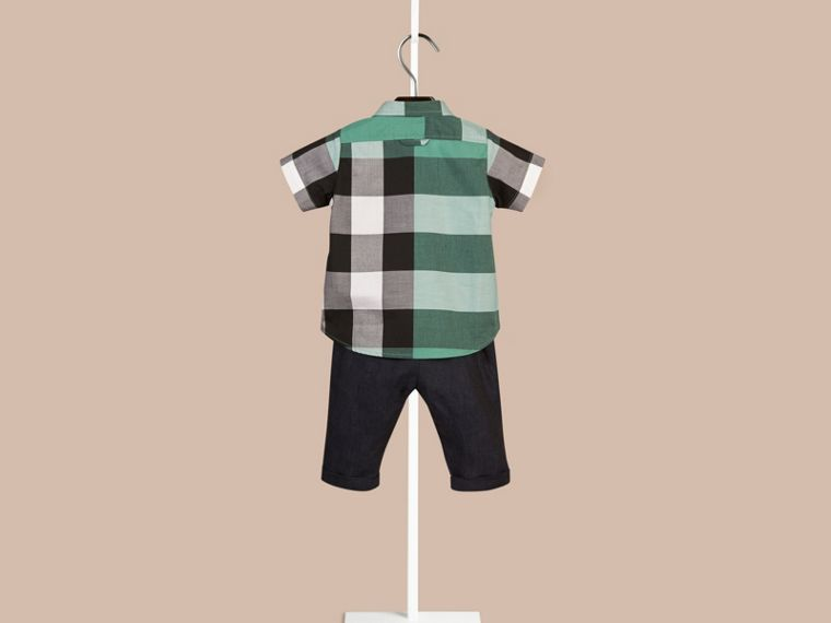 Aqua green Short-sleeved Check Cotton Shirt Aqua Green - cell image 1