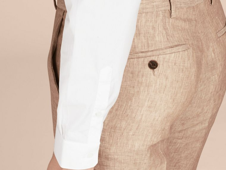 Pale stone Modern Fit Linen Trousers - cell image 4