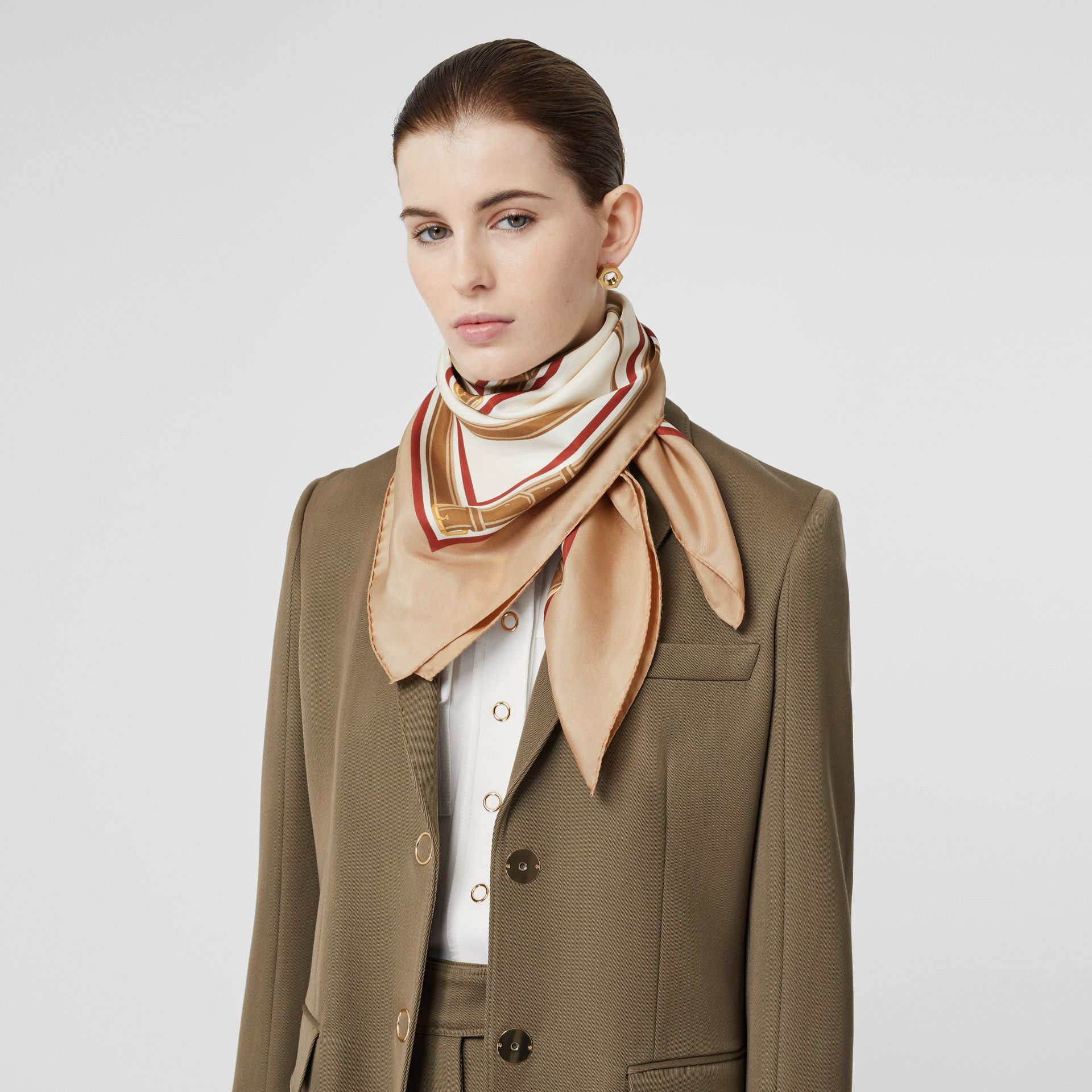 Archive Scarf Print Silk Square Scarf in Pale Camel | Burberry - gallery image 2