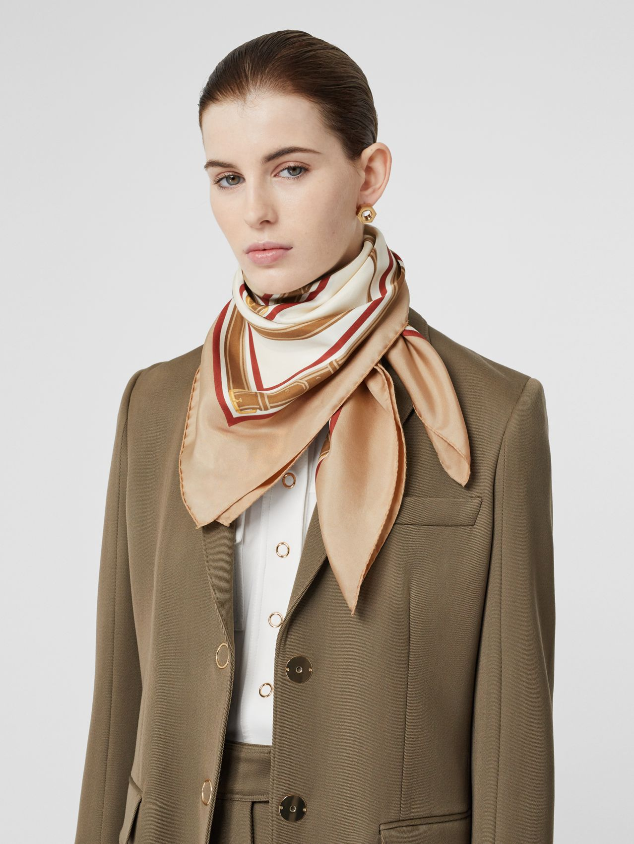 Archive Scarf Print Silk Square Scarf in Pale Camel