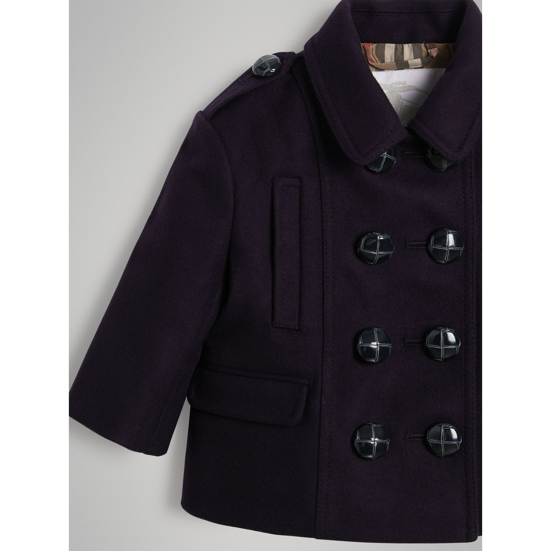 Wool Pea Coat in Navy | Burberry - gallery image 4