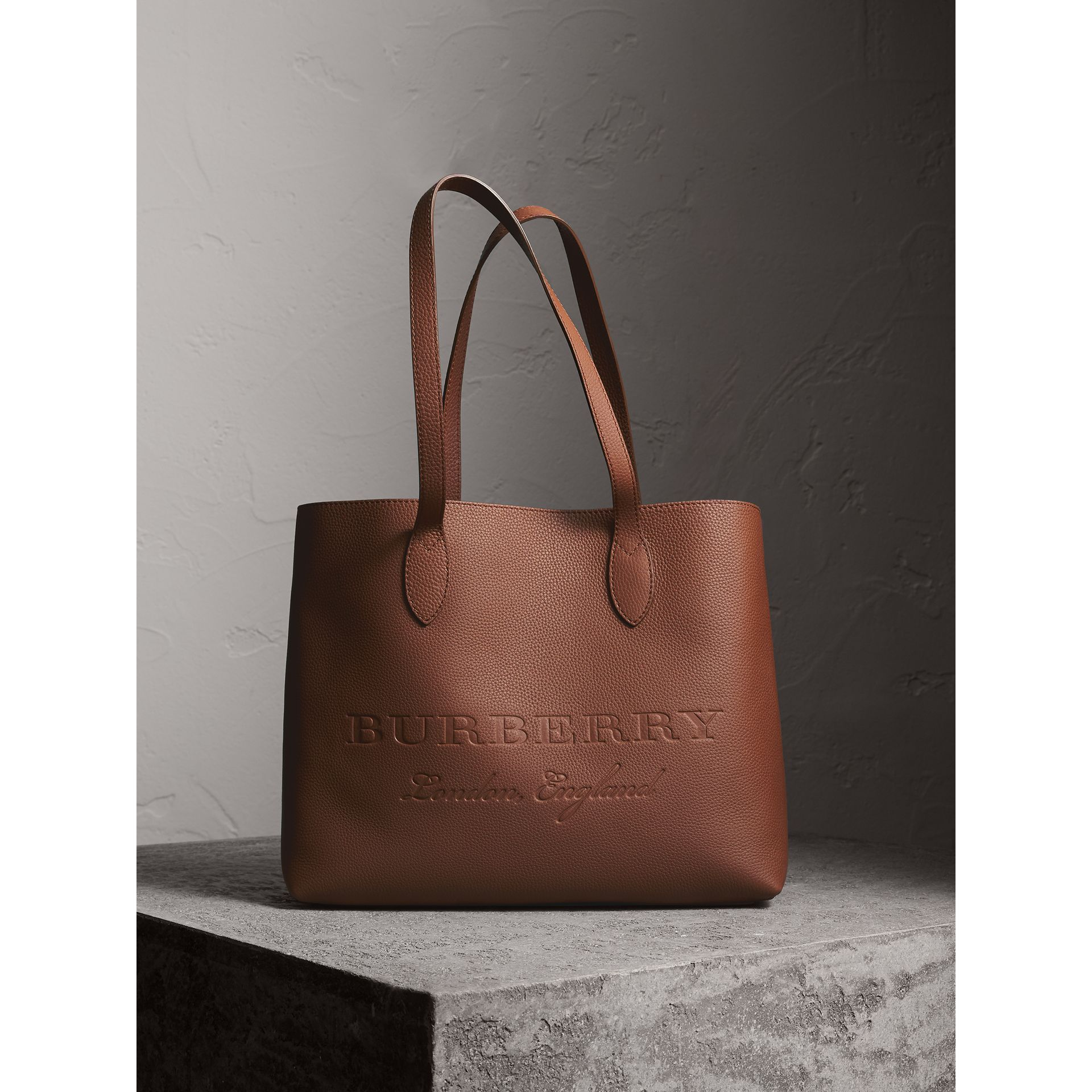 Large Embossed Leather Tote in Chestnut Brown - Women | Burberry - gallery image 1