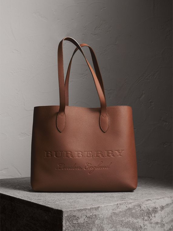 Large Embossed Leather Tote in Chestnut Brown