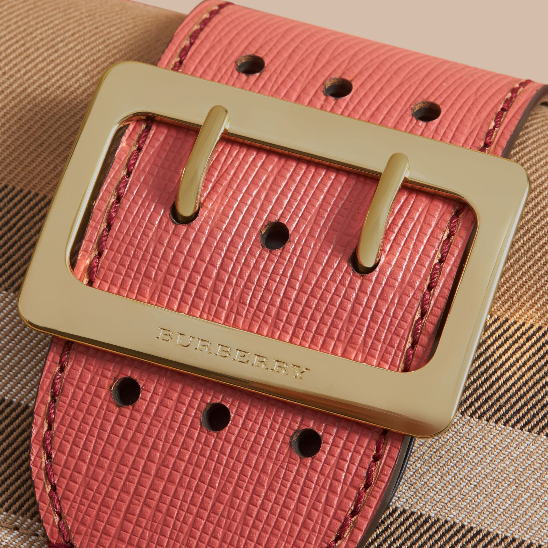 The Small Buckle Bag in House Check and Leather in Cinnamon Red - Women | Burberry - gallery image 1