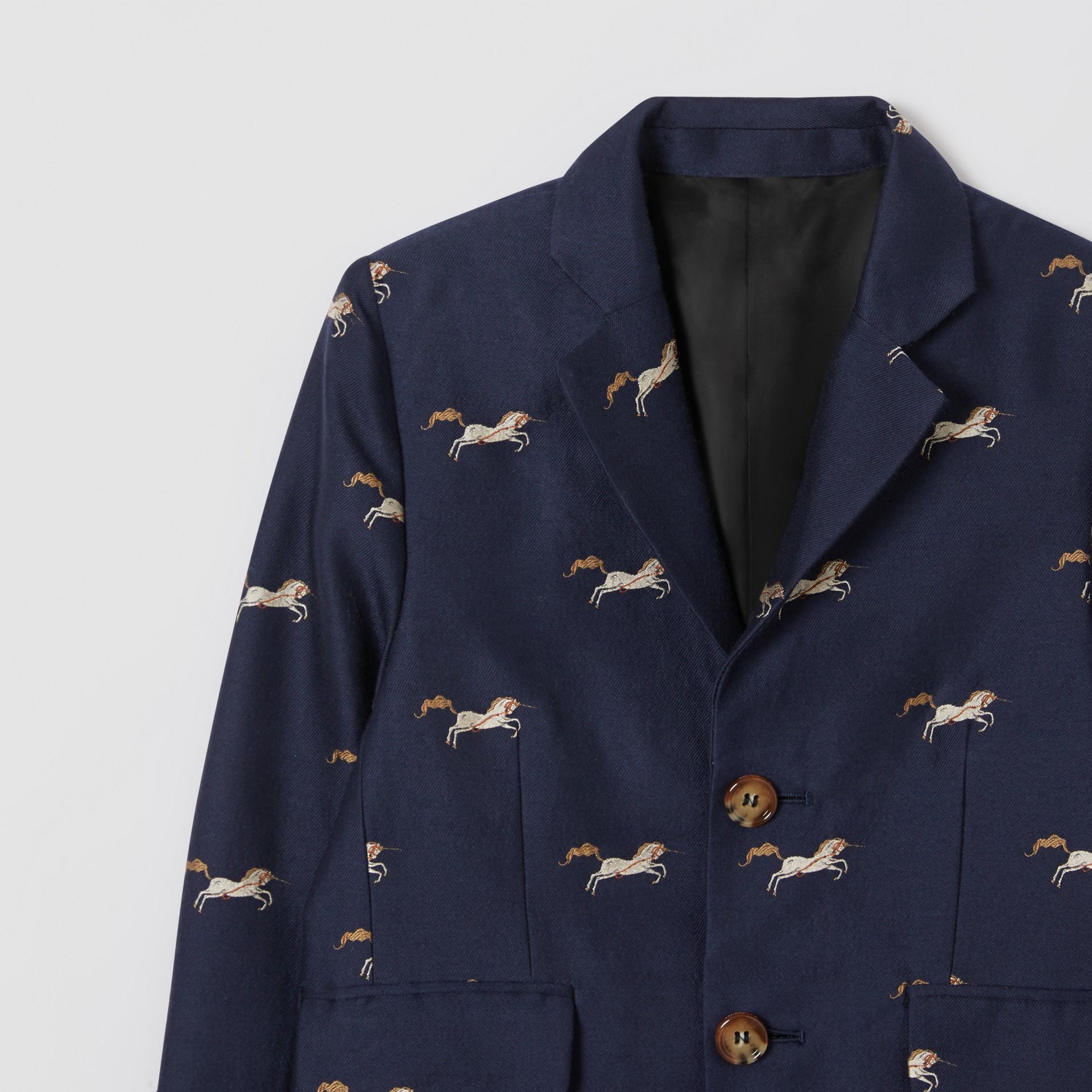Unicorn Wool Silk Jacquard Blazer in Navy   Burberry United Kingdom - gallery image 4