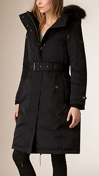 Down-filled Showerproof Parka with Fur trim