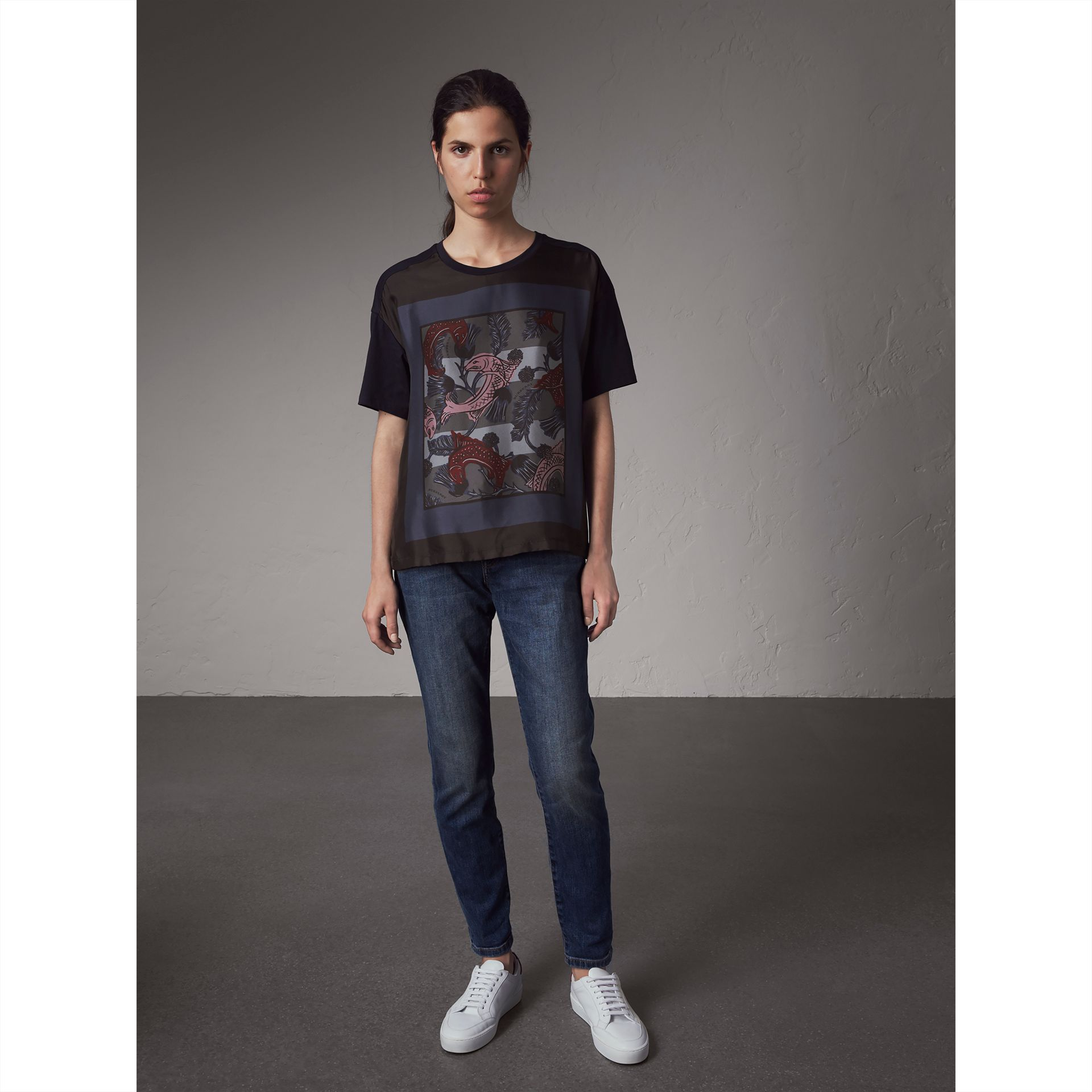 Beasts Print Silk Panel Cotton T-shirt in True Navy - Women | Burberry - gallery image 1