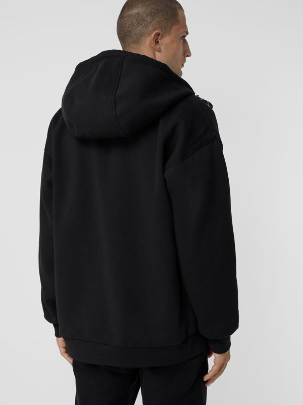 Reversible Graffiti Scribble Check Print Hooded Top in Black - Men | Burberry United Kingdom - cell image 2