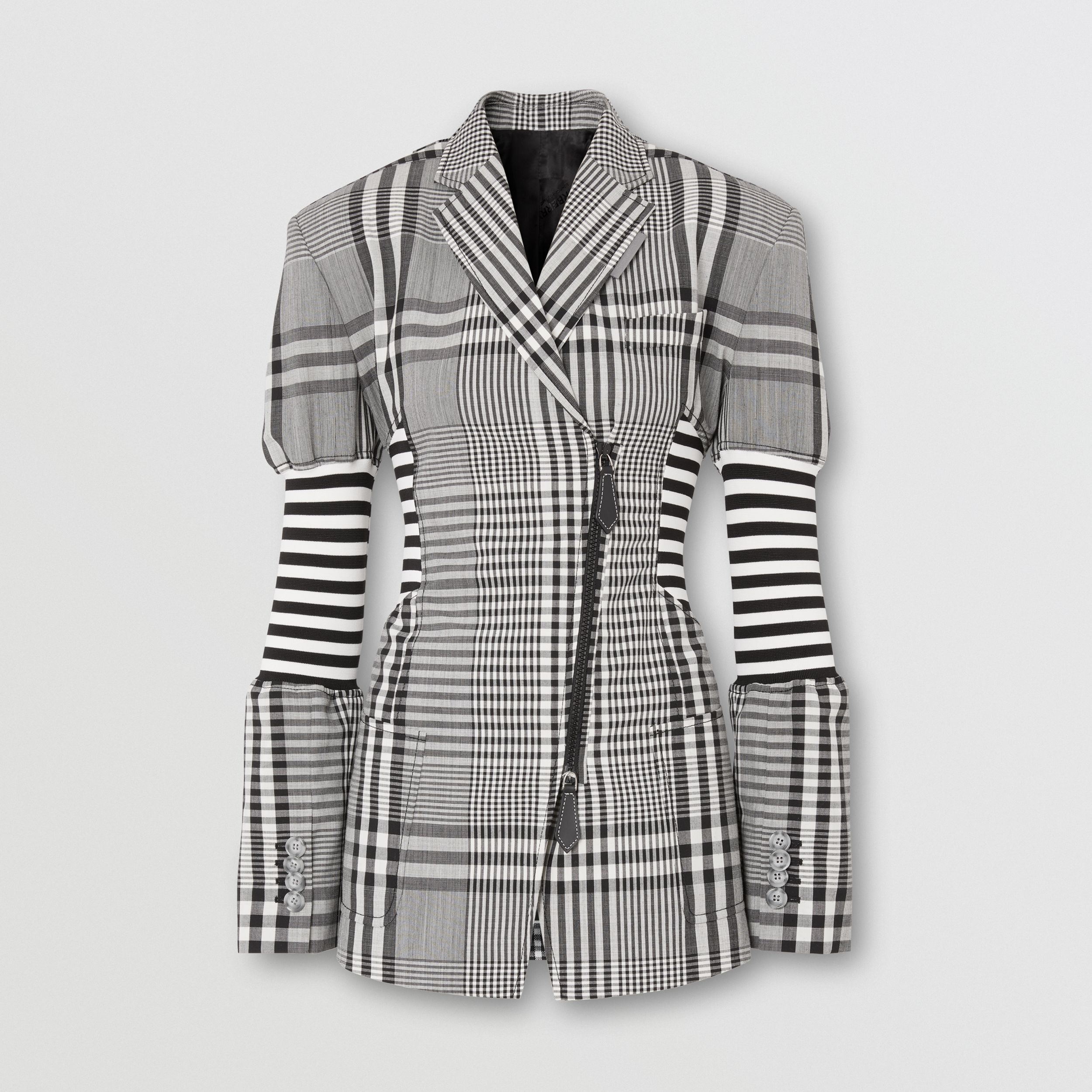 Corset Detail Check Technical Wool Blazer in Black - Women | Burberry - 4