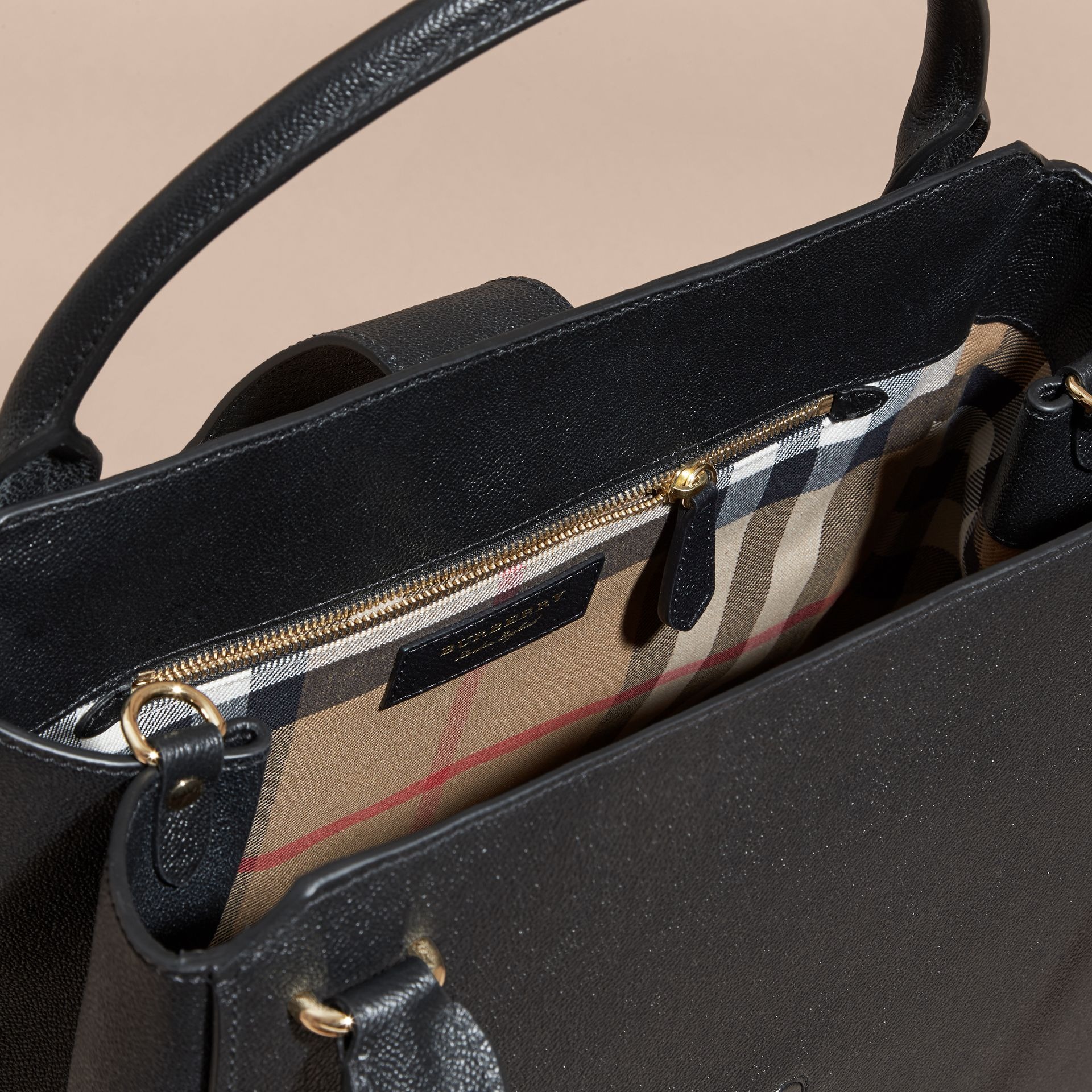 The Large Buckle Tote in Grainy Leather Black - gallery image 6
