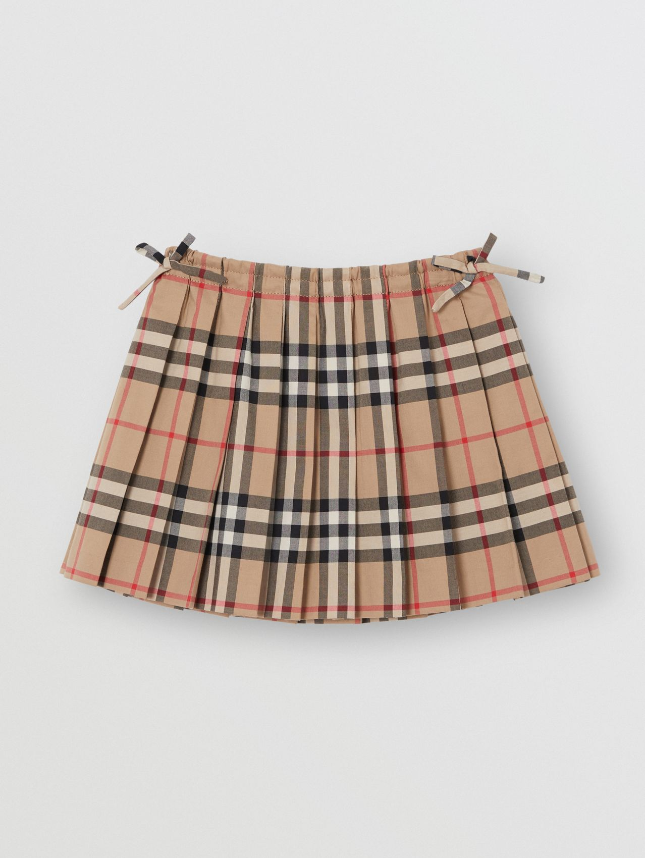 Pleated Vintage Check Cotton Skirt in Archive Beige