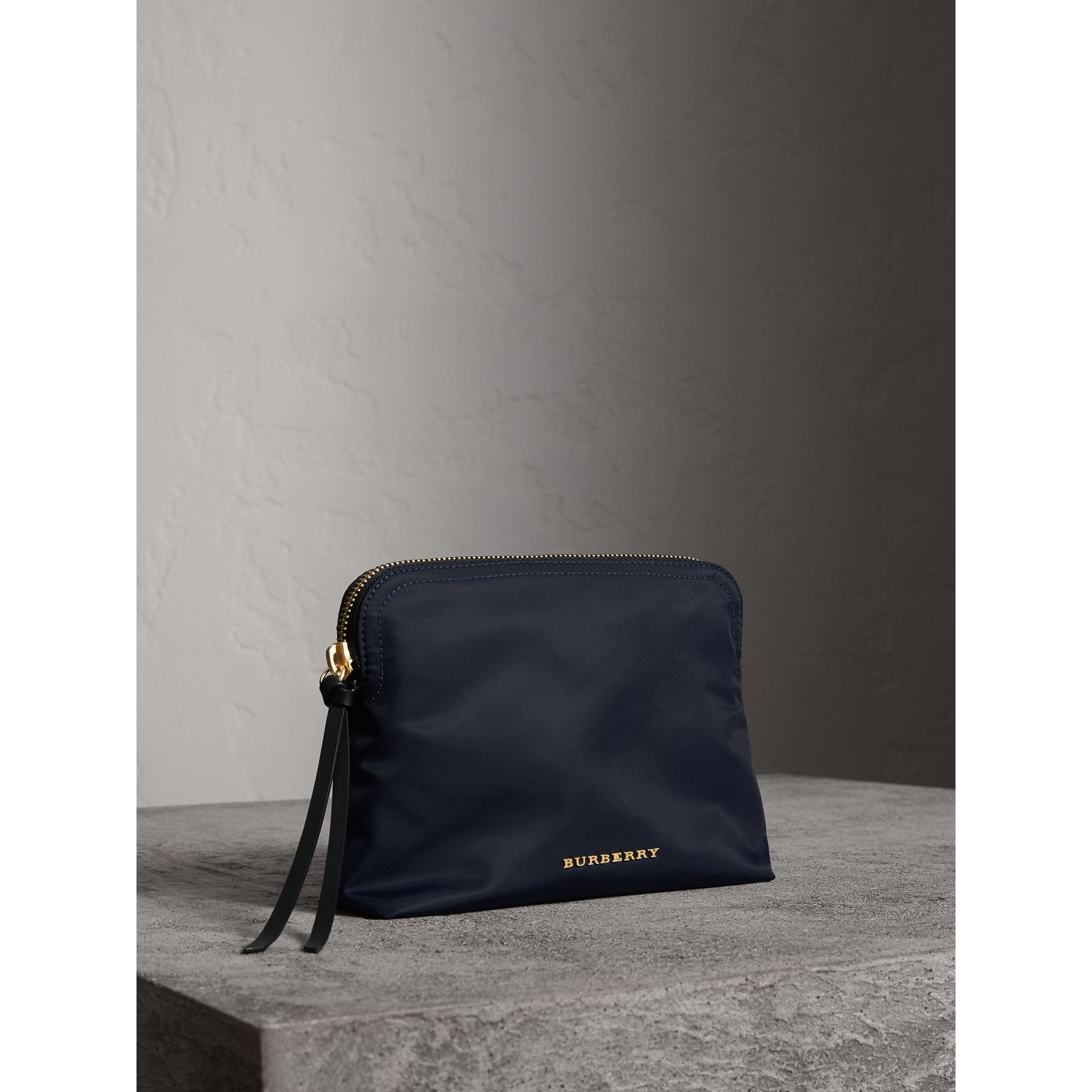 Large Zip-top Technical Nylon Pouch in Ink Blue - Women | Burberry - gallery image 7