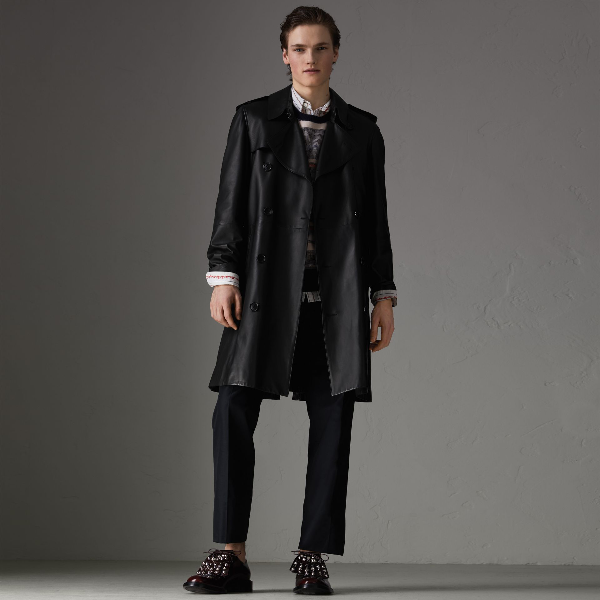 Lambskin Trench Coat in Black - Men | Burberry United Kingdom - gallery image 0