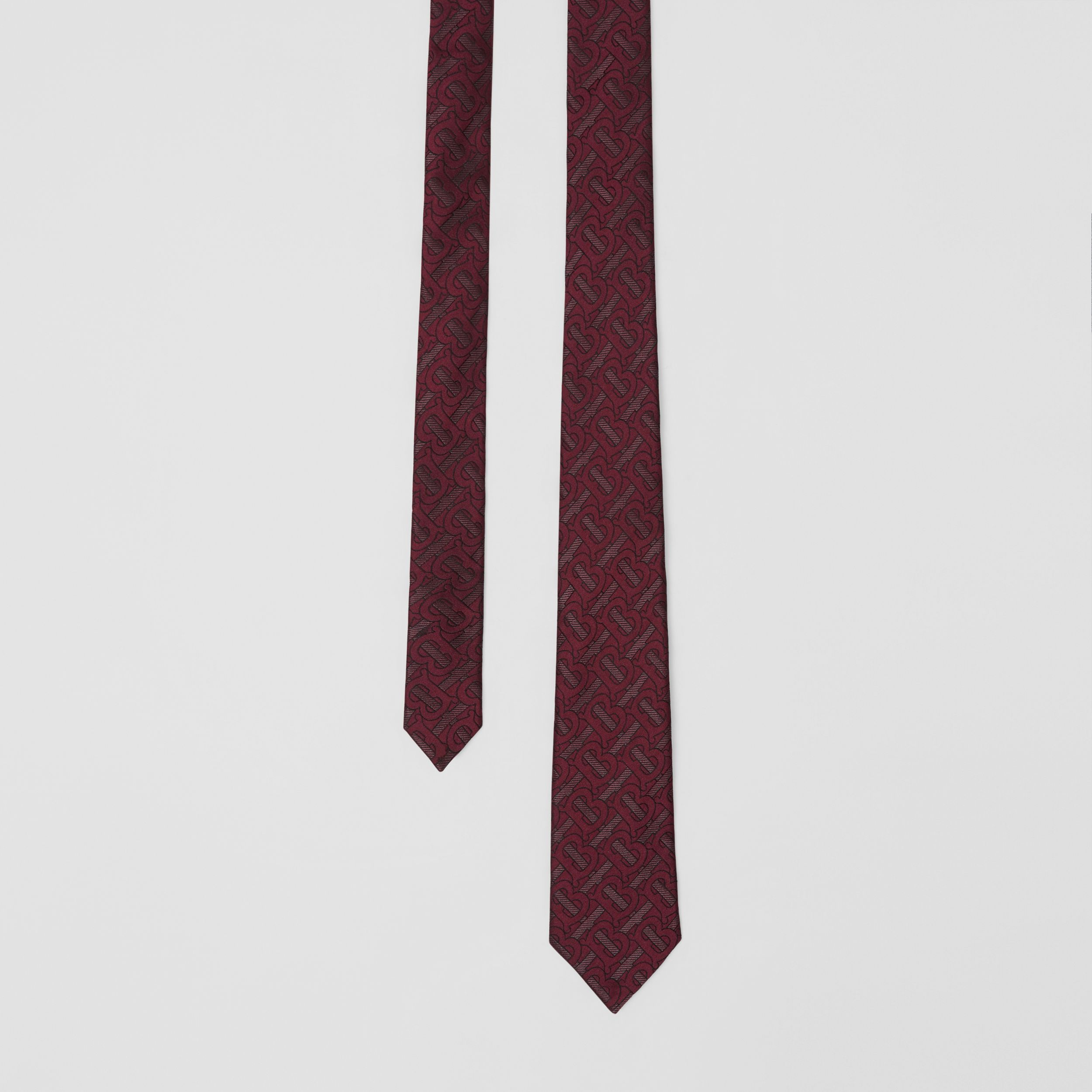 Classic Cut Monogram Silk Blend Jacquard Tie in Burgundy - Men | Burberry Australia - 1