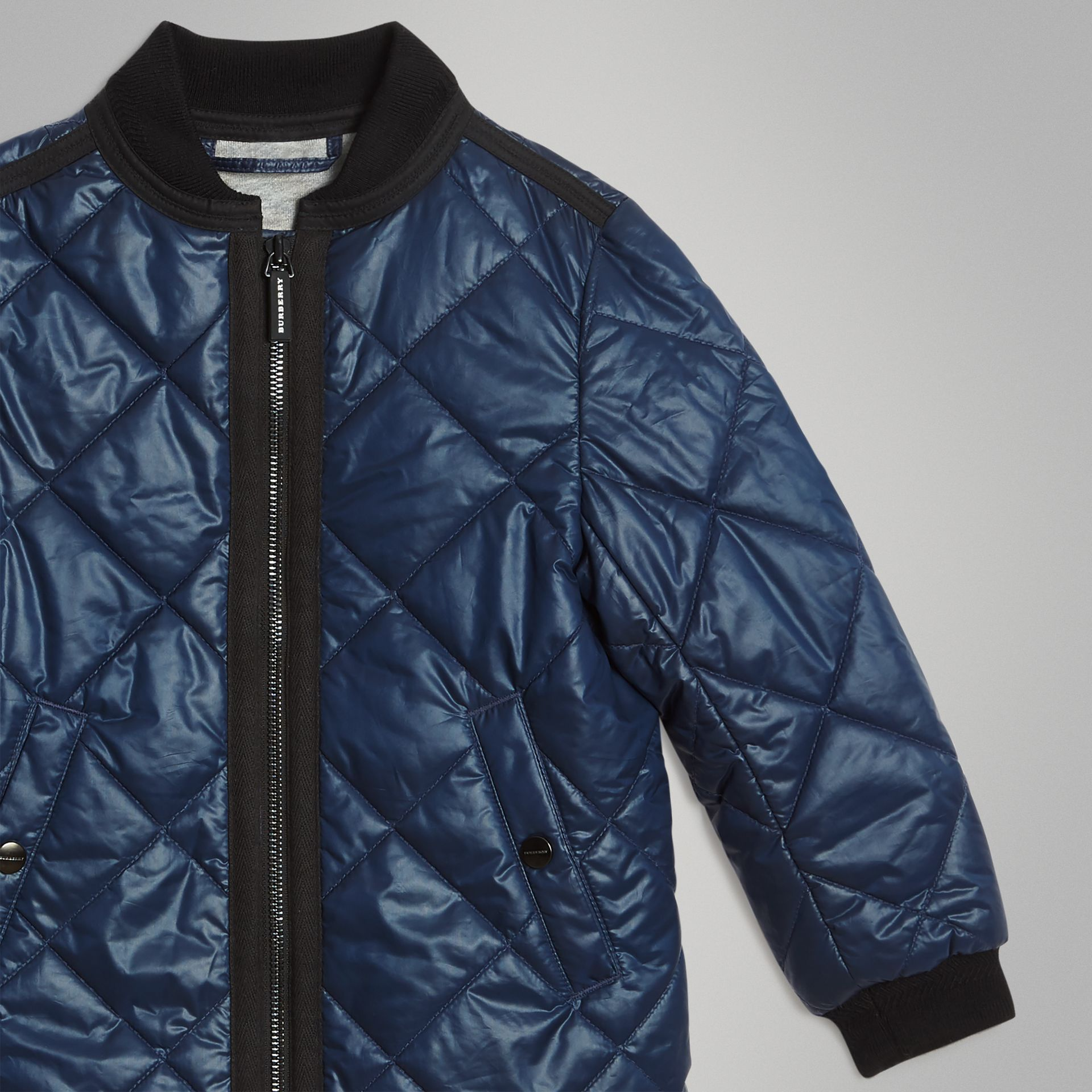 Showerproof Diamond Quilted Jacket in Navy | Burberry Australia - gallery image 4