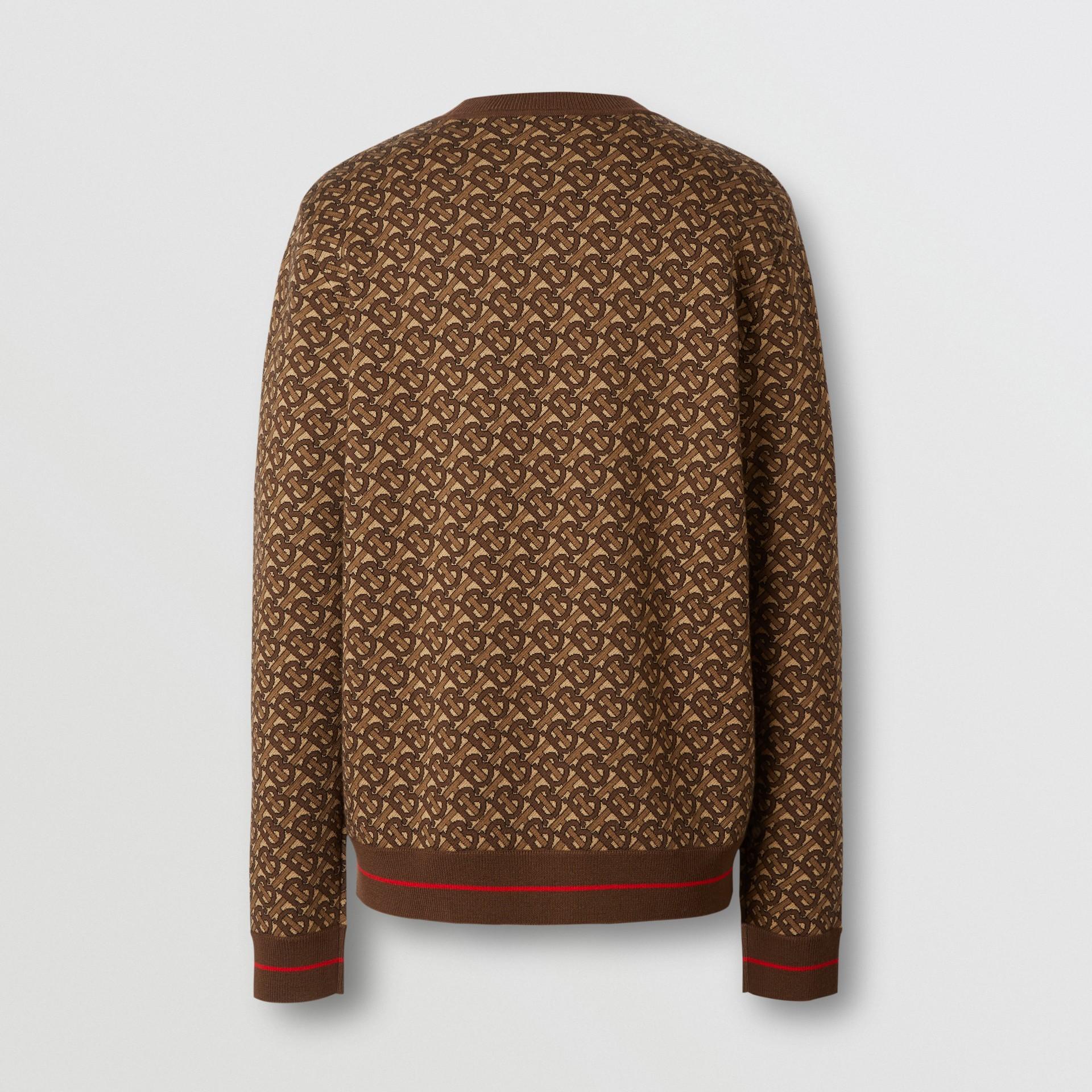 Pull en jacquard de laine mérinos Monogram (Brun Bride) - Homme | Burberry Canada - photo de la galerie 7