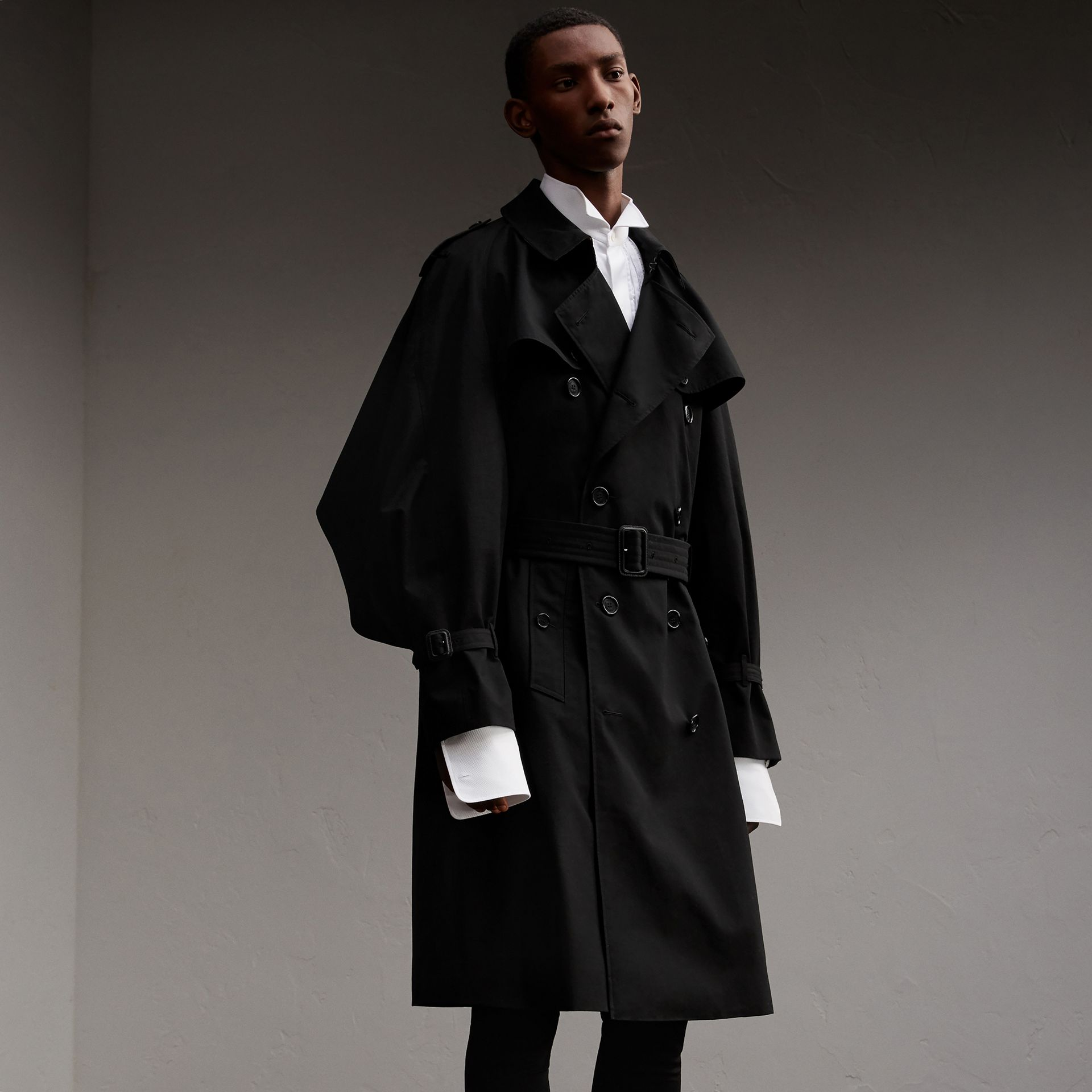 Cotton Gabardine Sculptural Trench Coat in Black - Men | Burberry - gallery image 1