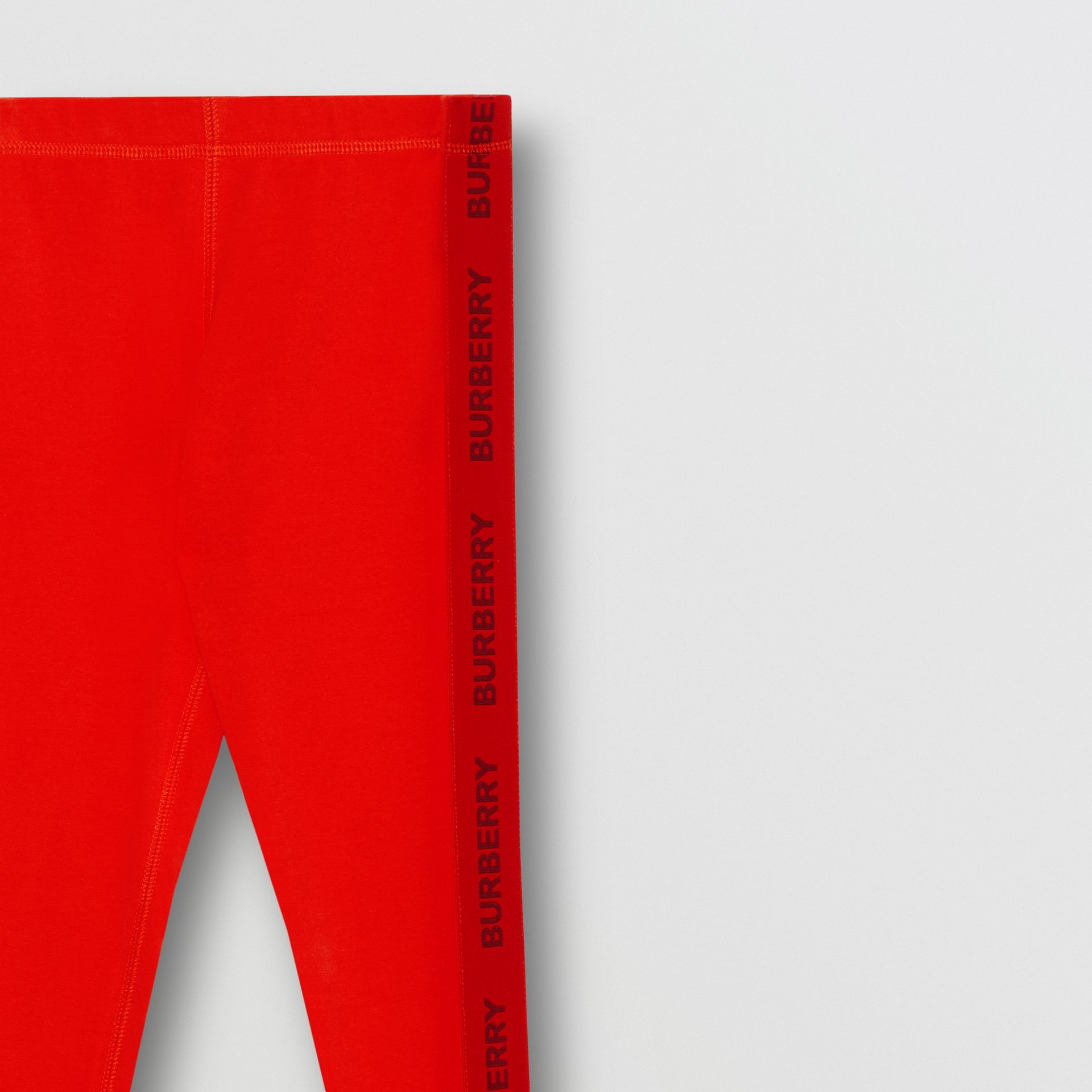 Logo Detail Stretch Cotton Leggings in Bright Red | Burberry United Kingdom - gallery image 4