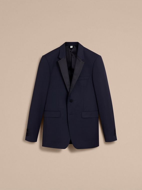 Modern Fit Virgin Wool Half-canvas Tuxedo in Navy - Men | Burberry - cell image 3