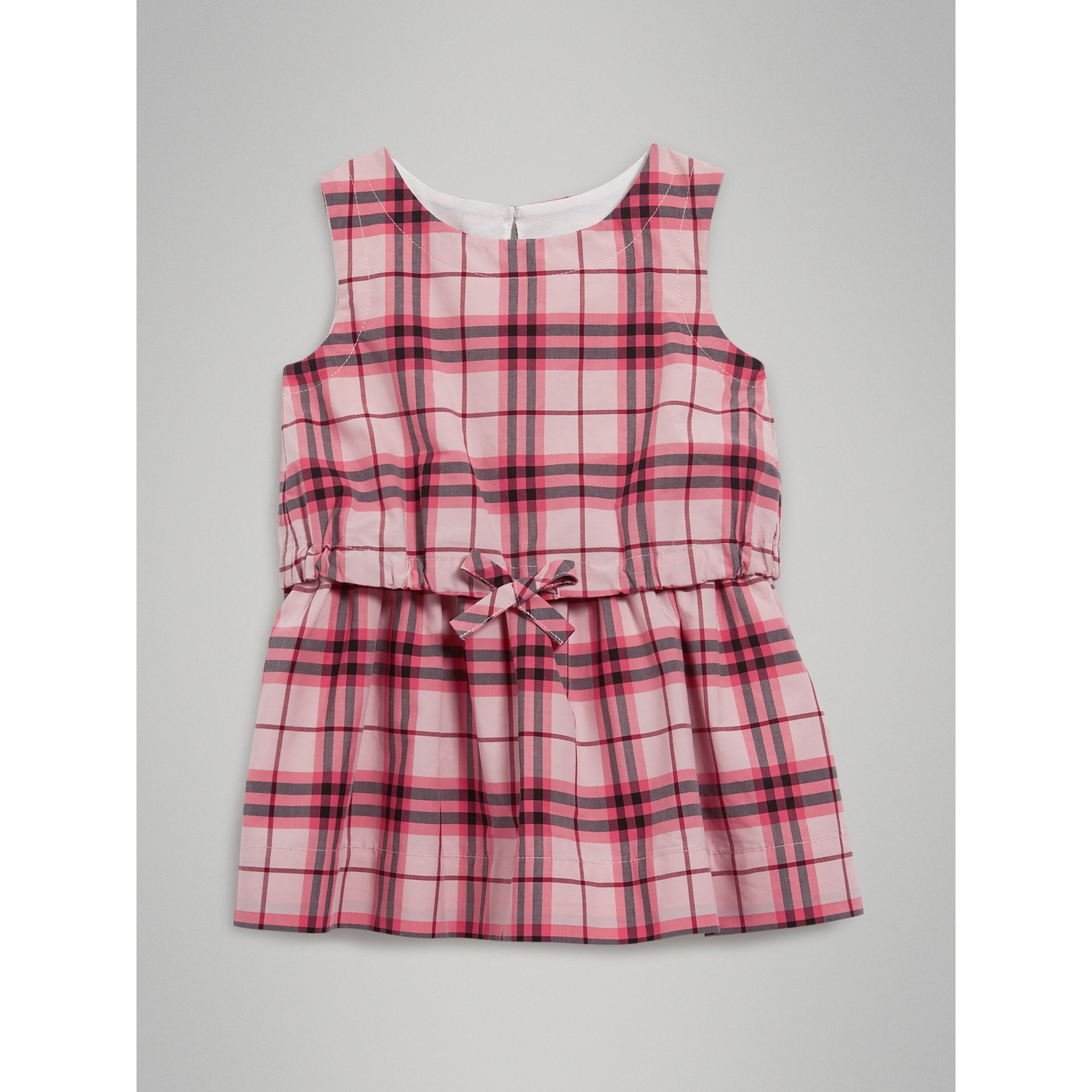 Gathered Check Cotton Dress in Bright Rose | Burberry Singapore - gallery image 0