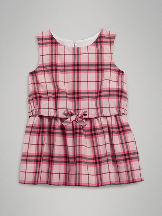 Gathered Check Cotton Dress in Bright Rose