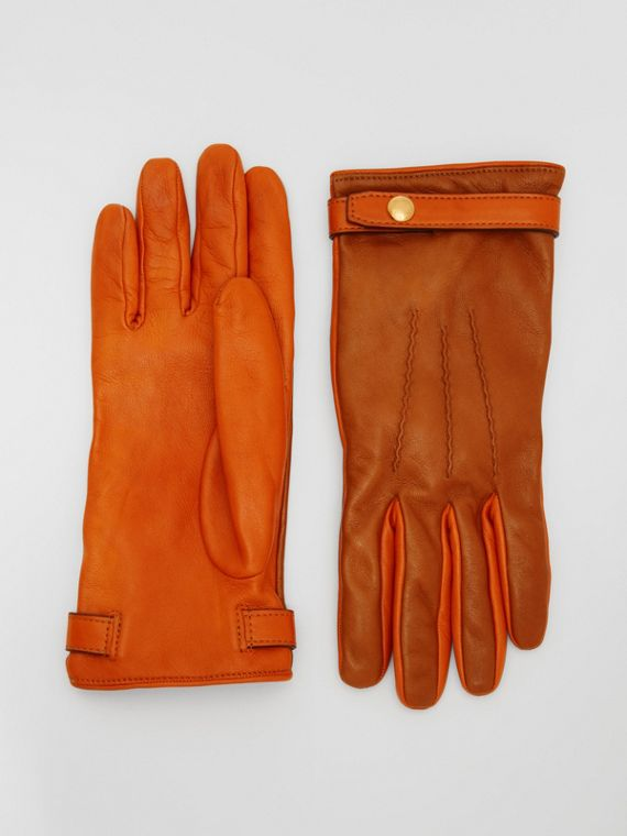 Silk-lined Two-tone Lambskin Gloves in Brown