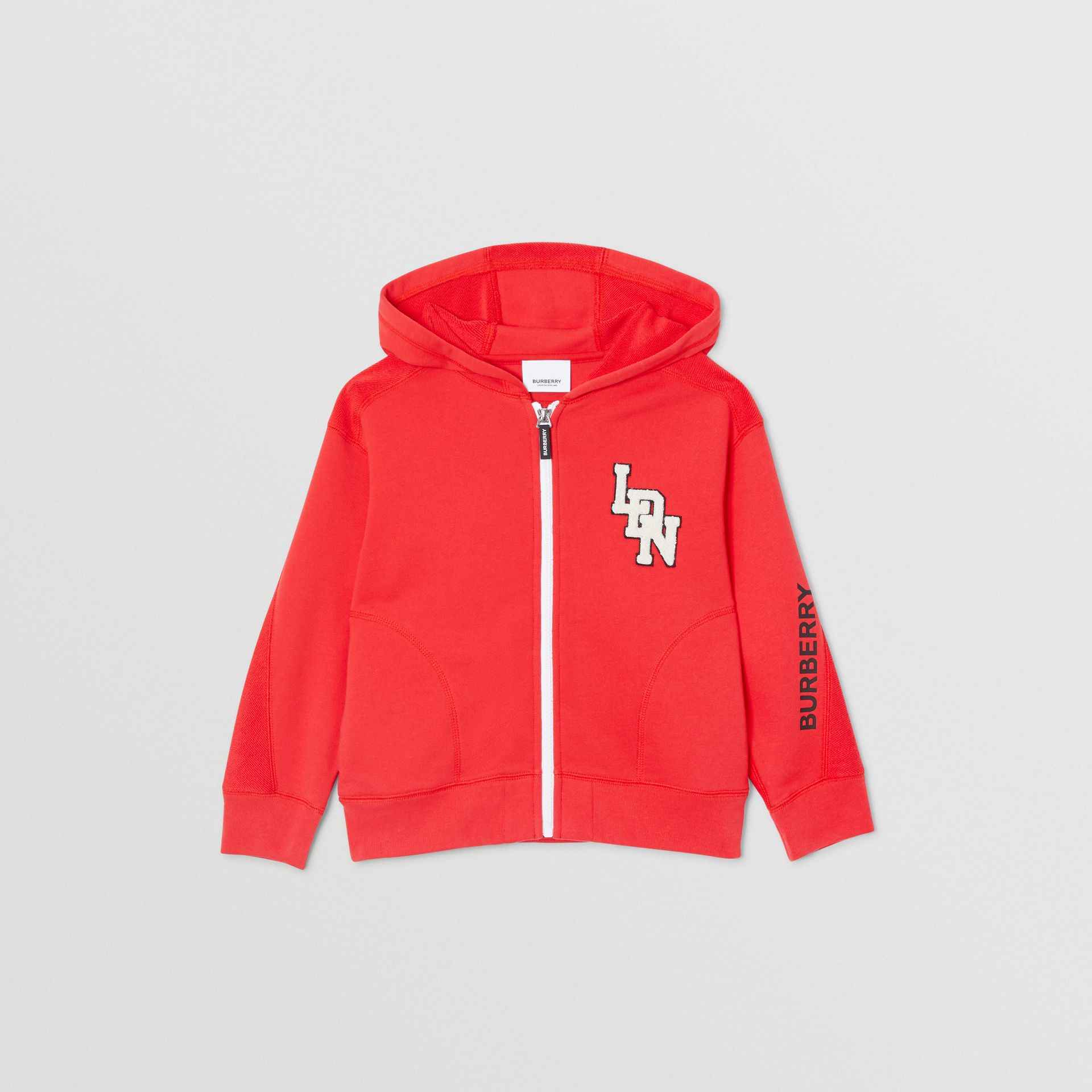 Logo Graphic Cotton Hooded Top in Bright Red | Burberry - gallery image 0