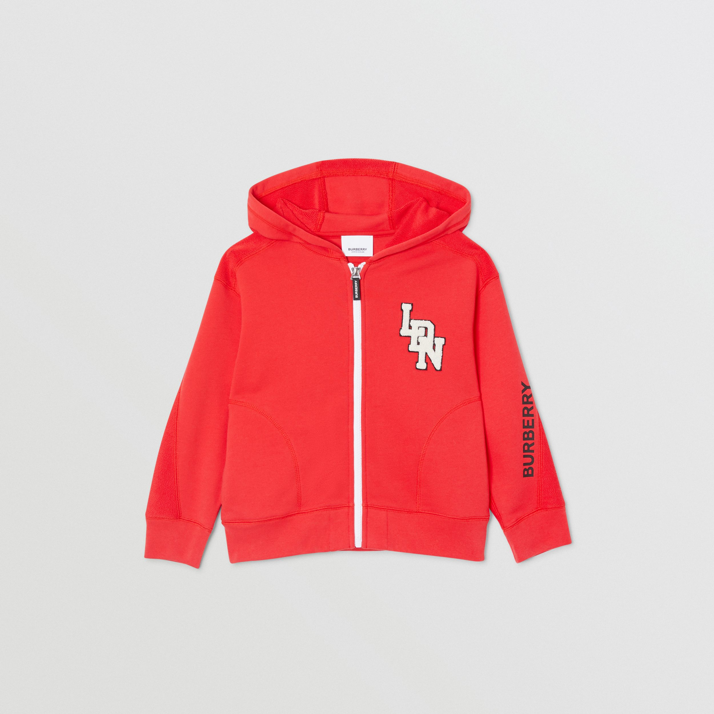 Logo Graphic Cotton Hooded Top in Bright Red | Burberry United Kingdom - 1