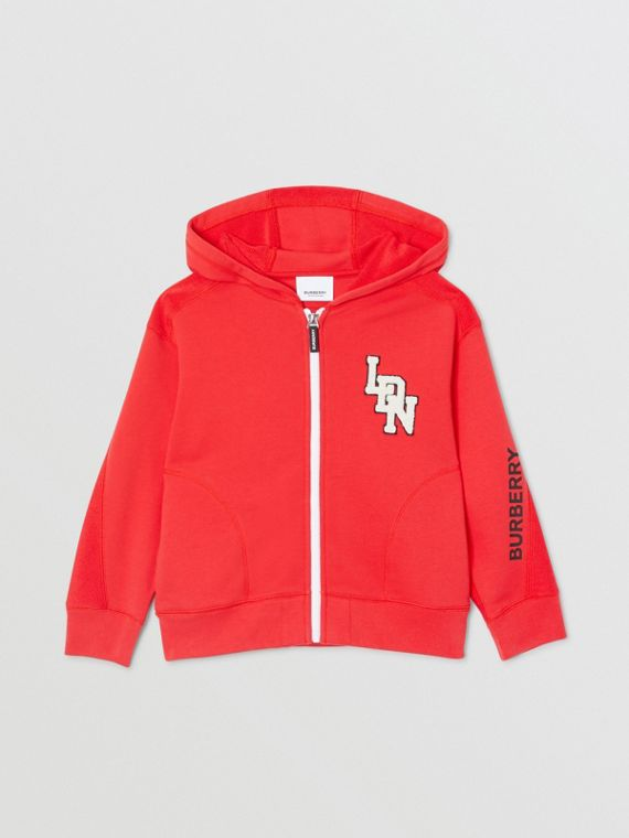 Logo Graphic Cotton Hooded Top in Bright Red