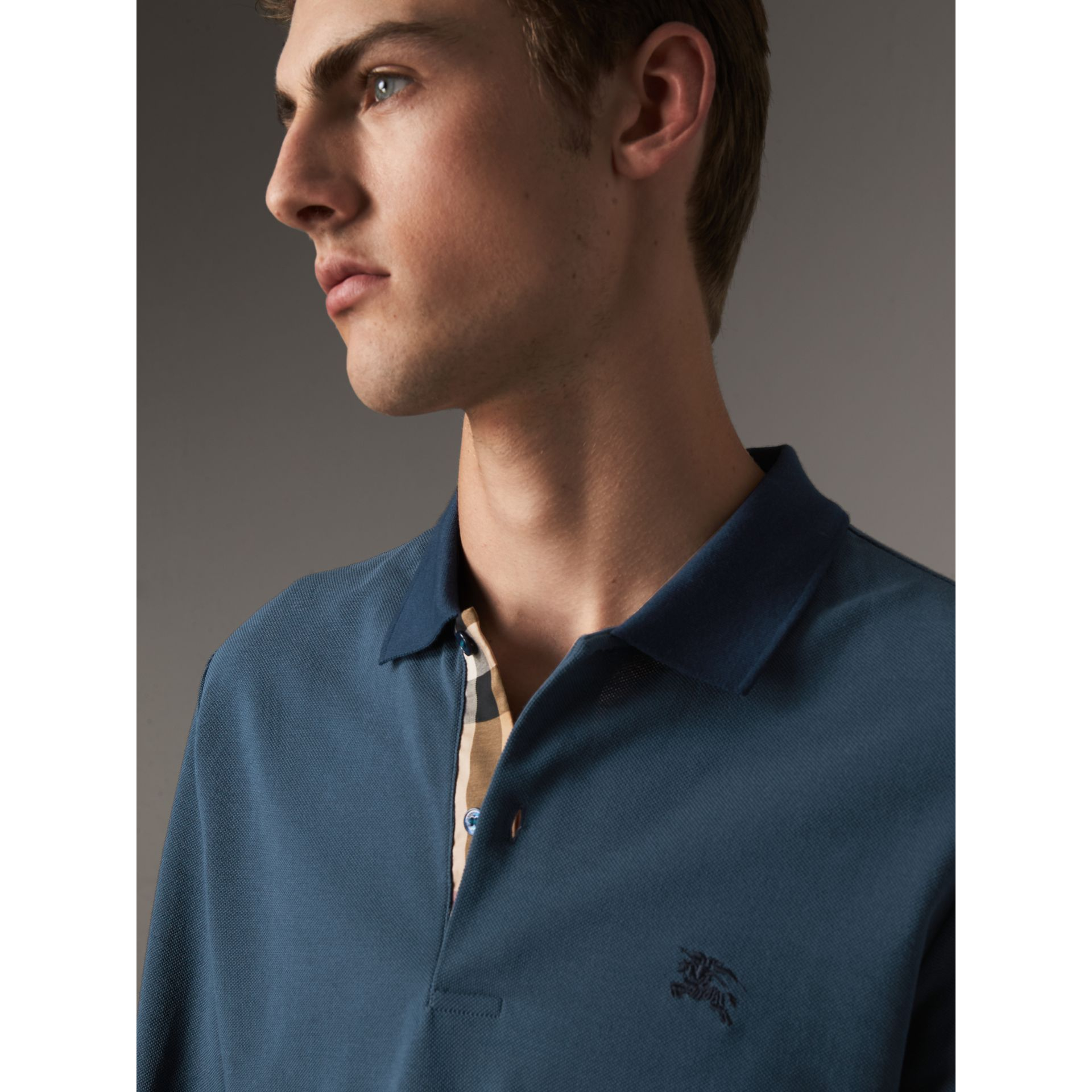 Long-sleeve Cotton Piqué Polo Shirt in Canvas Blue - Men | Burberry - gallery image 1
