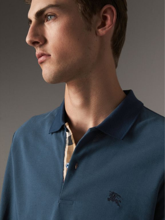 Long-sleeve Cotton Piqué Polo Shirt in Canvas Blue - Men | Burberry - cell image 1