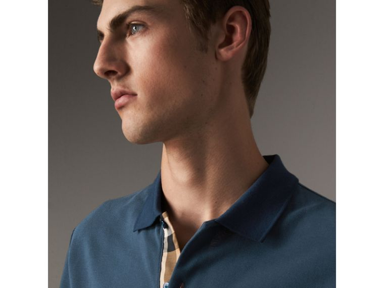 Long-sleeve Cotton Piqué Polo Shirt in Canvas Blue - Men | Burberry Hong Kong - cell image 1