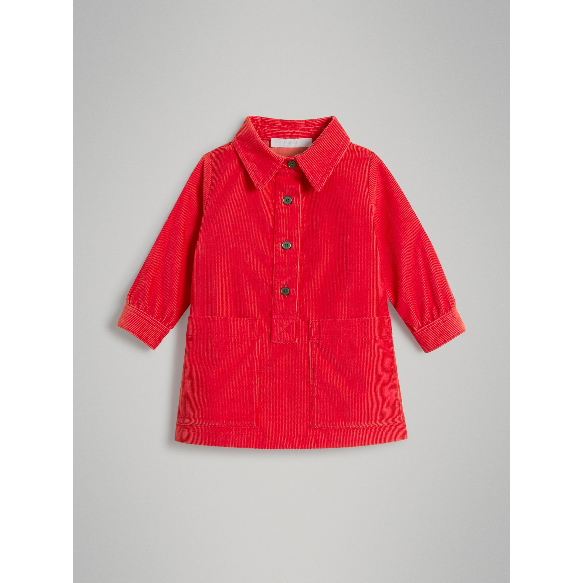 Corduroy Shirt Dress in Bright Orange Red - Children | Burberry United Kingdom - gallery image 0